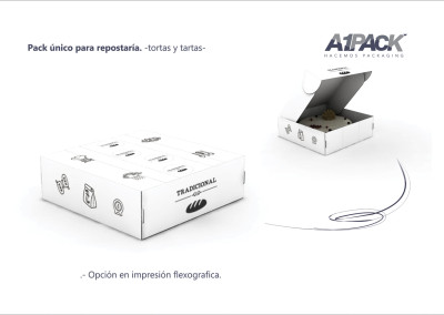 Diseño industrial packaging versatil de reposteria